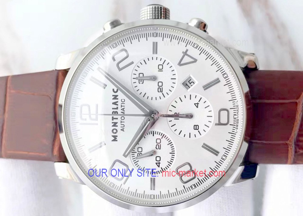 Fake Mont blanc Timewalker Chronograph Watch SS Brown Strap